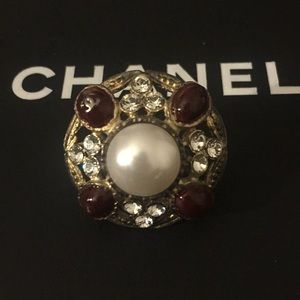 Chanel Pearl Brooch/Pin w/ Crystals & Red Stones